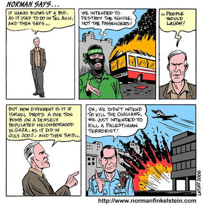 Norman compares an attack on a bus with an attack on an Israeli terrorist, showing that both have 'collateral damage'