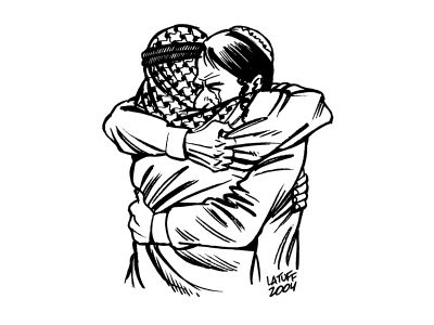 an Arab man hugs an Israeli man, tears in their eyes