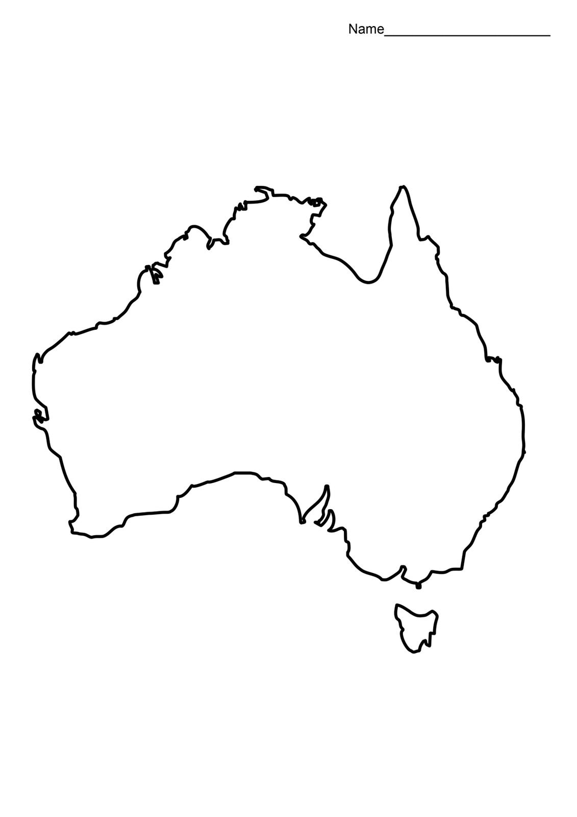 Australia Map Outline Printable
