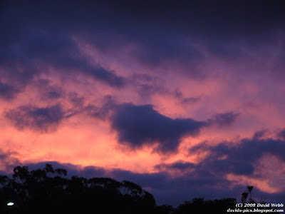 Purple and pink clouds at Sunset