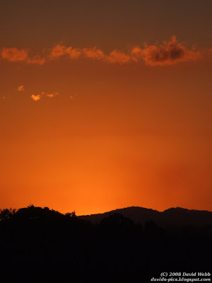 bright orange sunset over the mountains