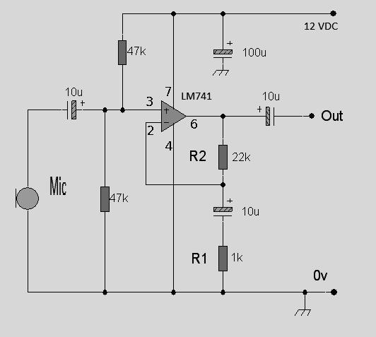Rangkaian Op Amp Lm741 Pre Amp Mic Koleksi Skema