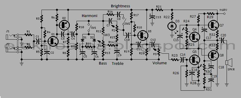 rangkaian power 60 watt guitar amplifier tone control. Black Bedroom Furniture Sets. Home Design Ideas