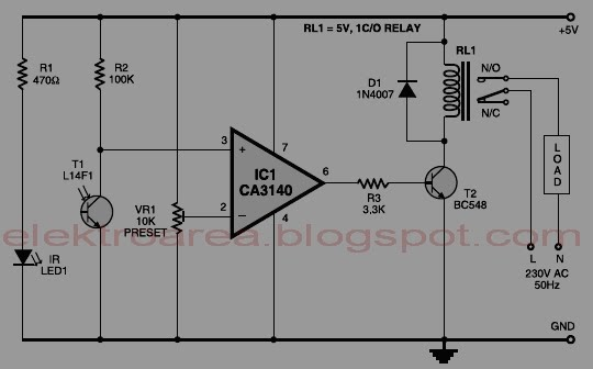 Infra Red Wired Repeater Circuit To Control Appliances From A Remote