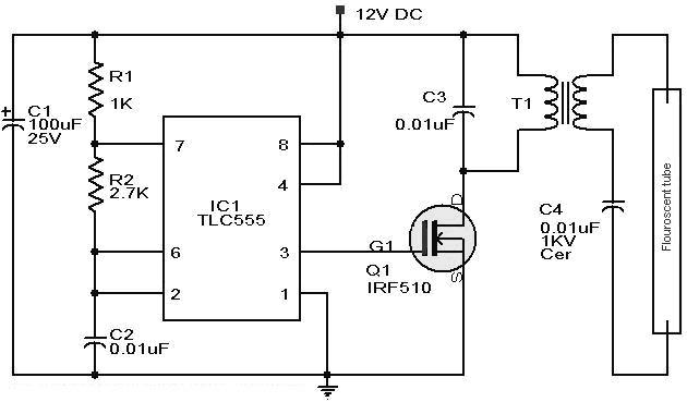 rangkaian 12vdc fluorescent lamp driver