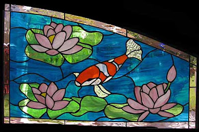 Stained glass craftsmen stained glass koi pond and lotus for Koi pond glass