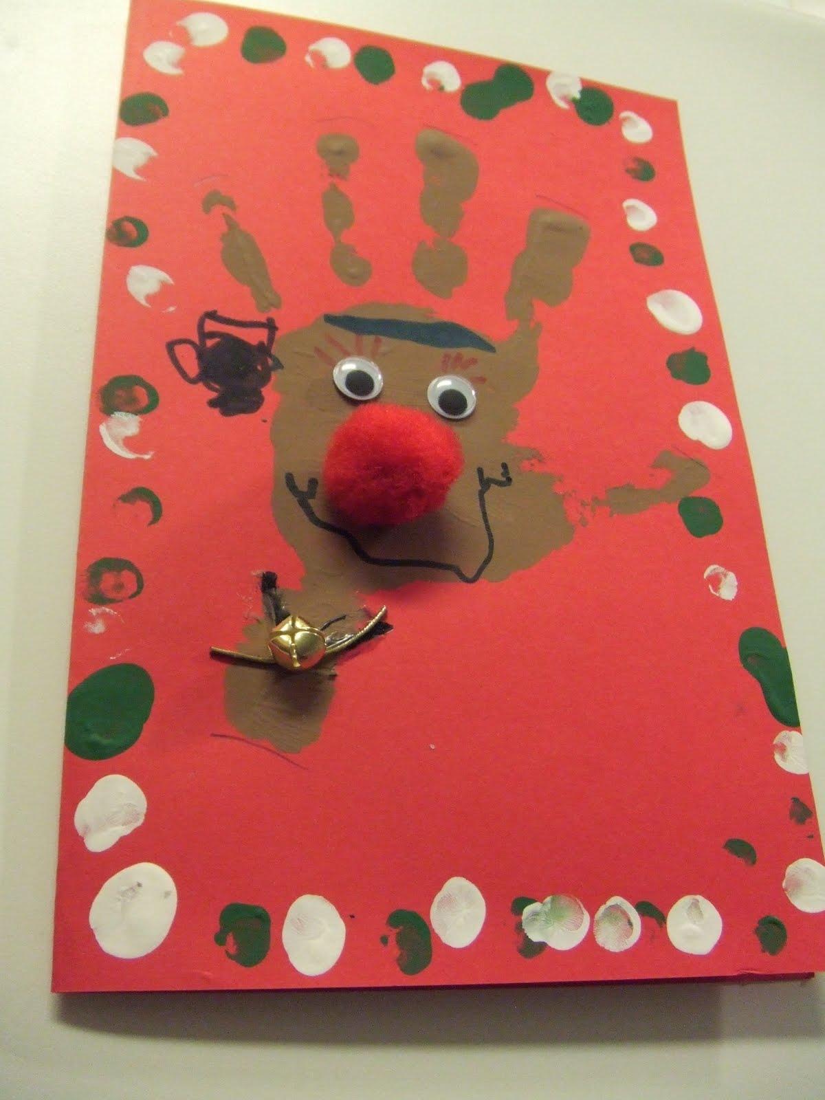Reindeer Christmas Cards Hand Prints.Tasty Tidbits Creative Crafts And Merry Makings Reindeer