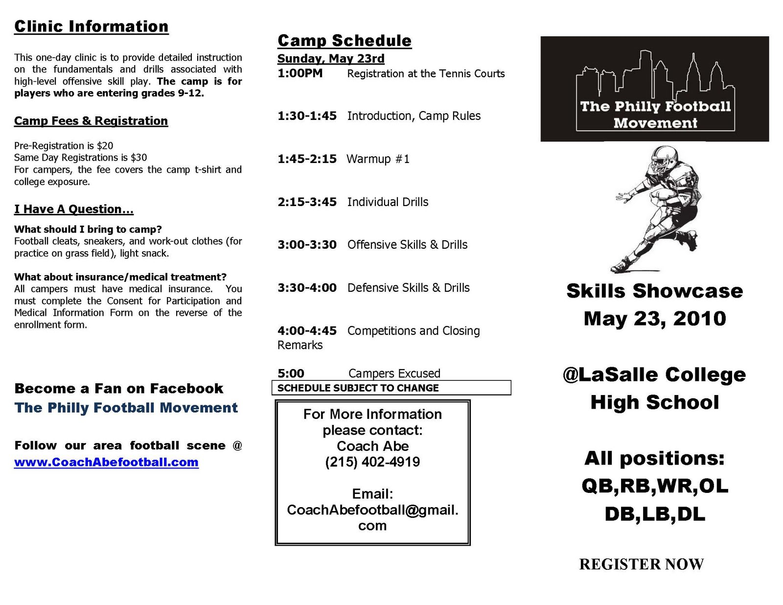 Coach Abe Football May 23rd Skills Showcase Registration Form To