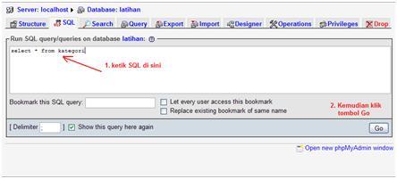 MySQL: Mencoba Menjalankan Query di PHPMyAdmin