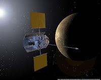 Representación gráfica de la Sonda Messenger sobre Mercurio