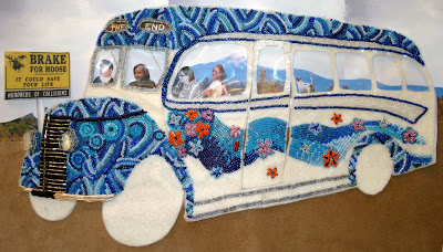 beaded blue bus doors new hampshire bead embroidery pop art Boston Mt. Washington Auto Road Grateful Dead