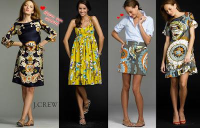 J Crew desenli elbiseler