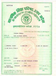 VIKASH PORWAL: H S C  Marksheet and certificate