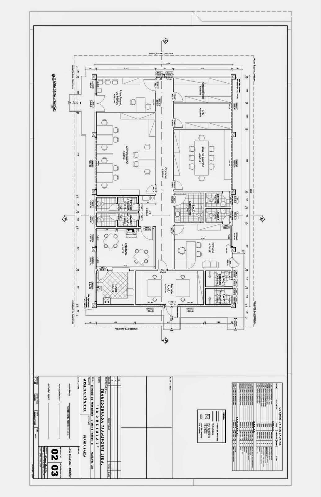 Projeto Arquitetônico em DWG em 2D Galpão Industrial #292929 1035 1600