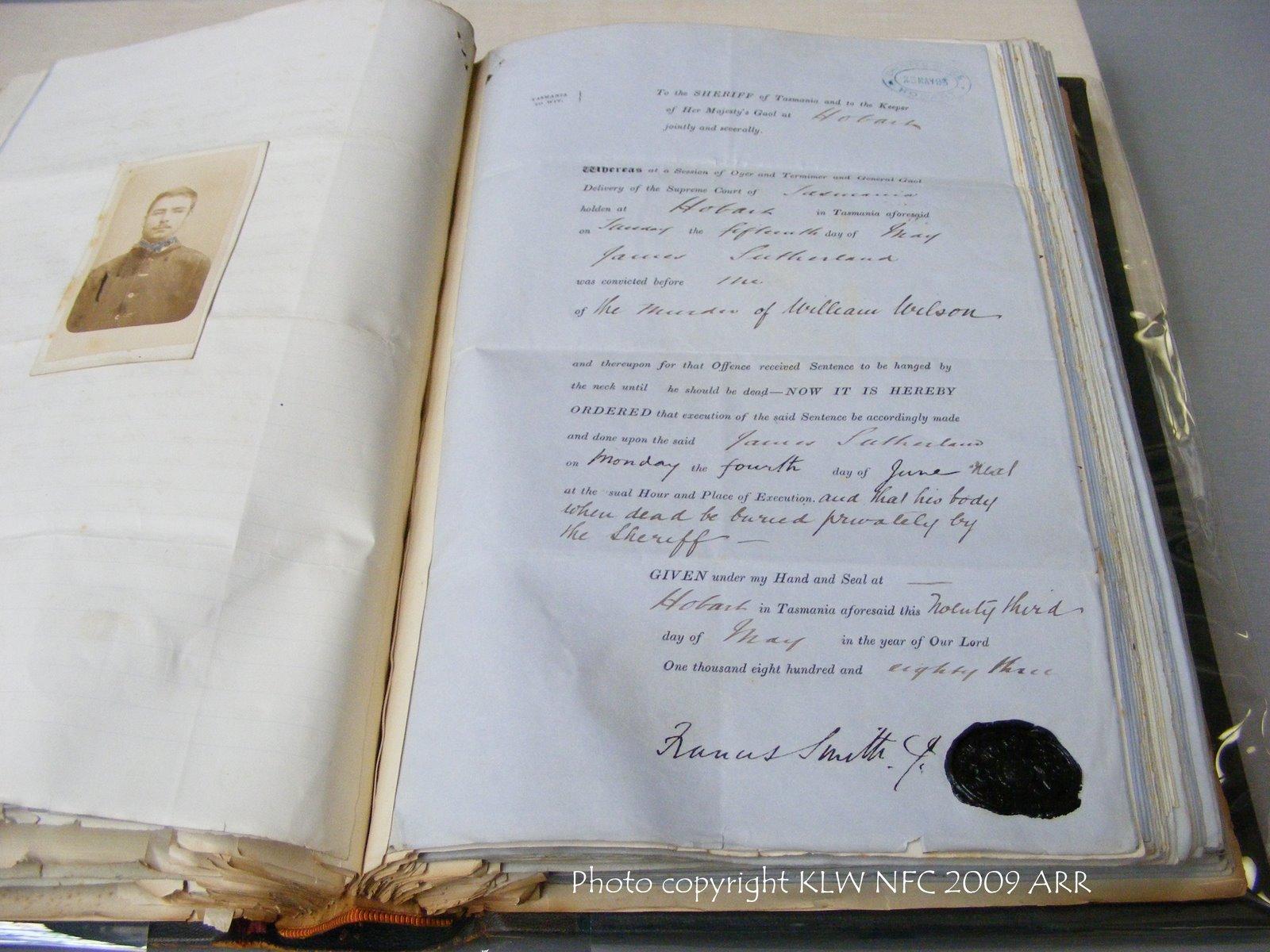 Death warrant Tasmania for James Sutherland