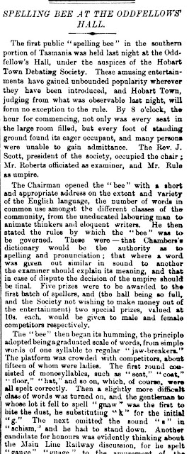Spelling Bee 25 Sept 1875