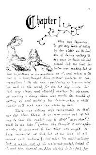 Facsímil con una ilustración de Carroll