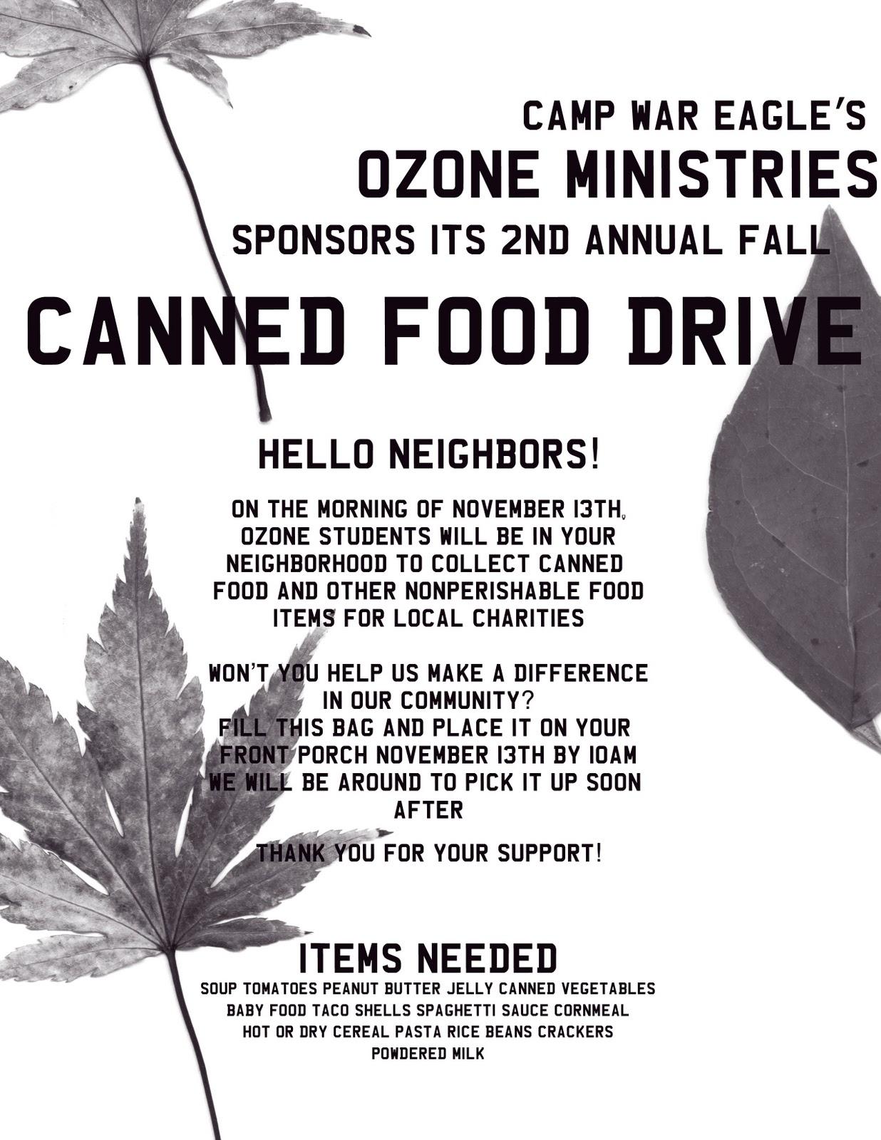 Camp War Eagle 365 Canned Food Drive