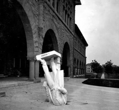 statue of Louie Agassiz, scientist,after 1906 SF earthquake. USGS
