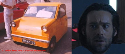 image of a 3 wheeled car and actor James Callis