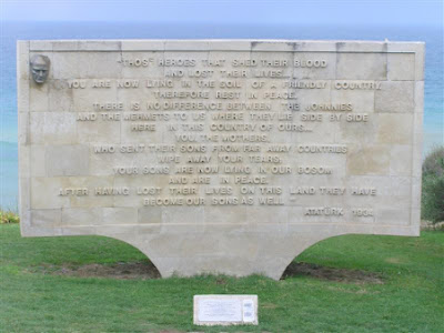 Ataturk's plaque at Gallipoli