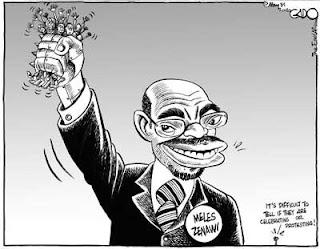 Meles Zenawi ganó la elección presidencial de mayo de 2010 con 99.6% de los votos. Caricatura por Gado.