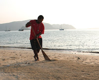 Sweeping the beach