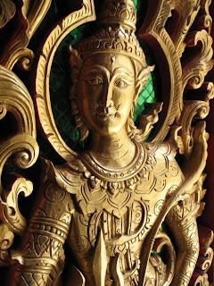 Detail of temple door at Wat Vichit Sangkaram, Phuket