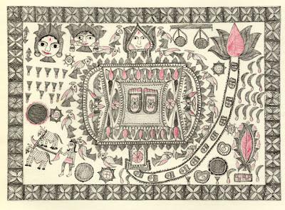aripan ritual domestic drawing mithila