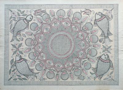 aripan mandala drawing from mithila