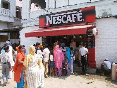 golden temple amritsar inside. Nescafe inside the Golden