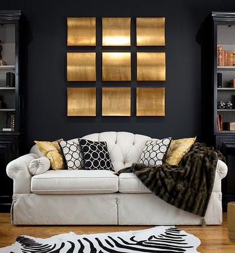 black white gold interior design living room black walls