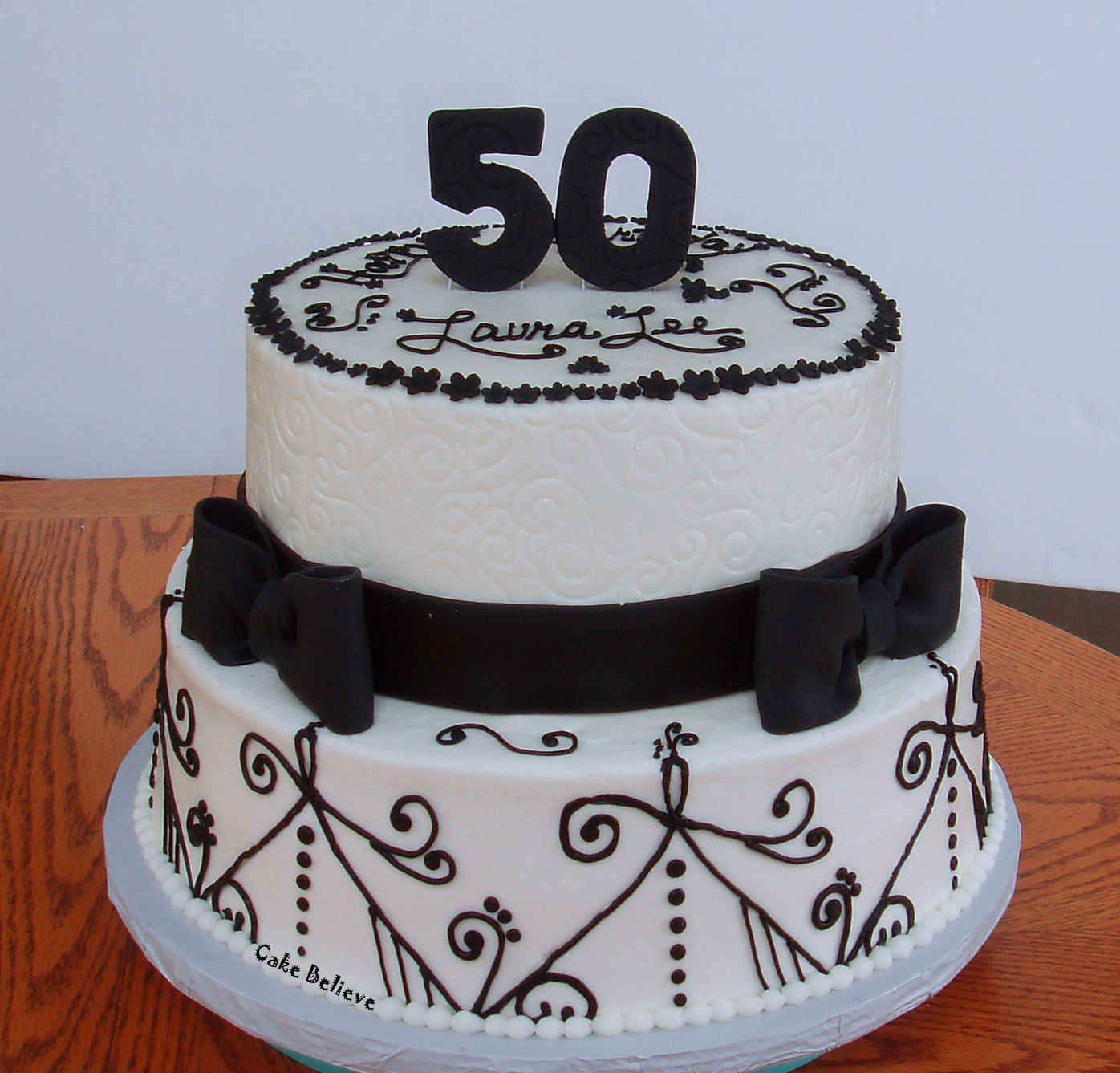 Cake Believe: Black And White 50th Birthday