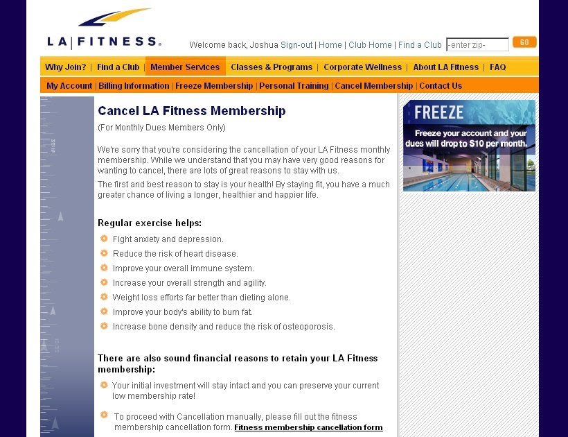 La Fitness Cancellation Form For Personal Training Fitness
