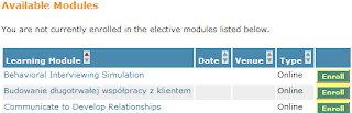 List of available elective modules at the bottom of a Knowledge Center's Main tab