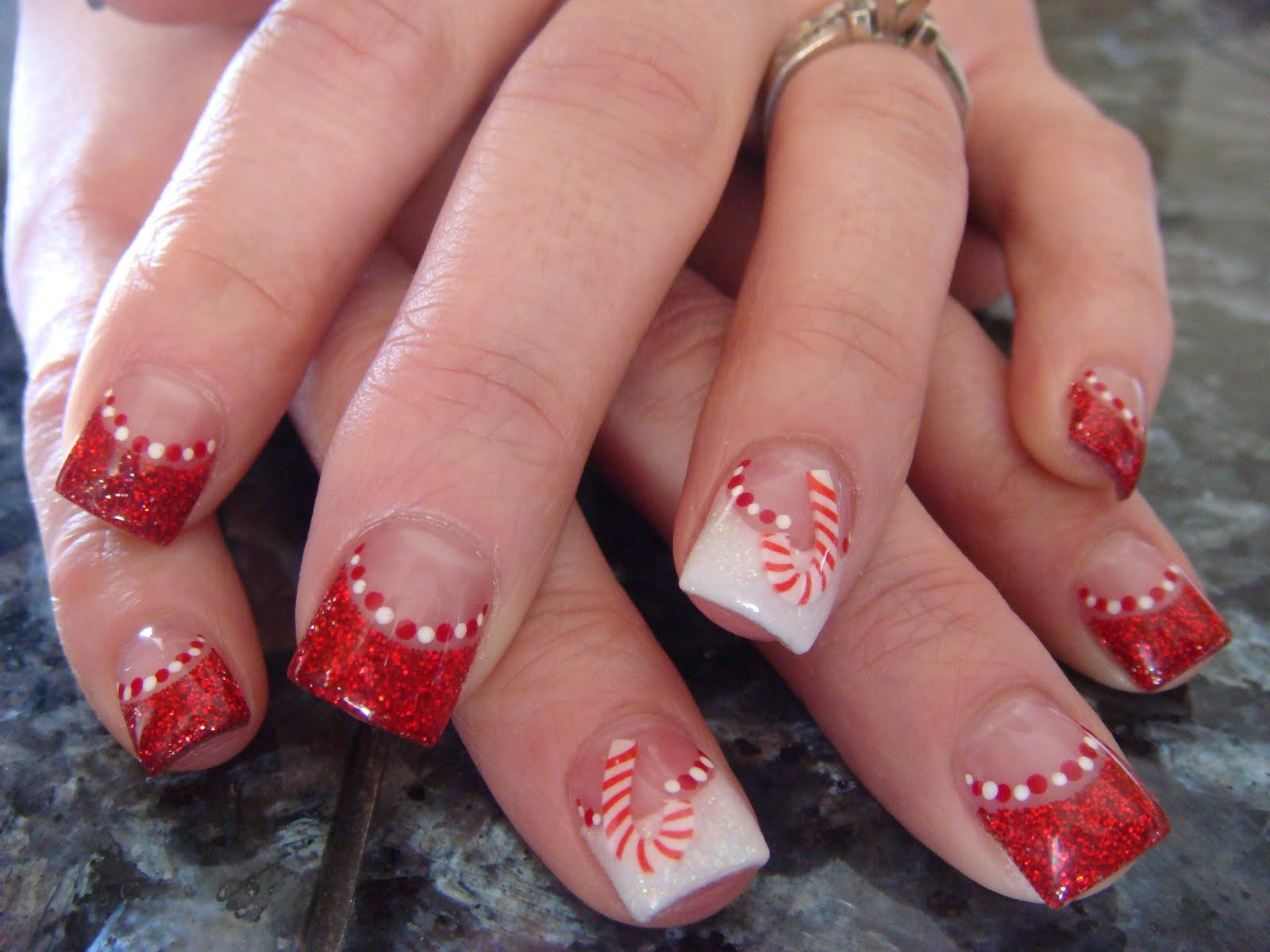 Candy cane nails with glitter