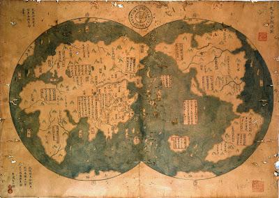 خريطة-الأرض-صينية-الرحالة-الصينيون-اكتشفوا-القارة-الأمريكية-أمريكا-العالم-الجديد