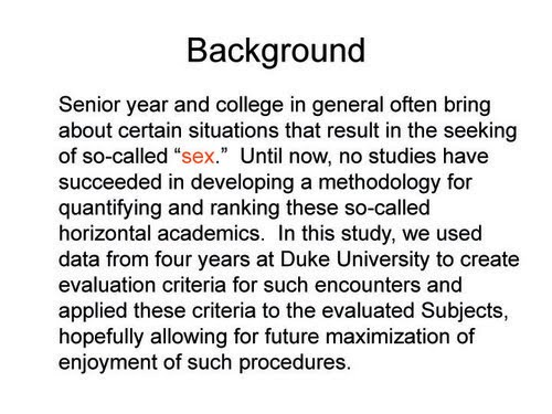 duke f list thesis The full duke university  list thesis from a former female student (update) update: names redacted read here so this is going to be bad or good, depending upon where some of the lacrosse, baseball, and tennis players rate on former blue devil karen f owen's  list.