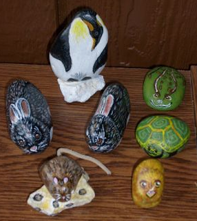 rock painting, painted rocks, critters, animals