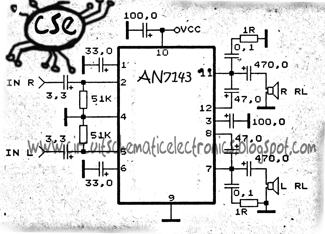 power amplifier circuit with ic anxxxx collection electronic circuit electronic circuit diagram audio amplifier an7149n 5w [ 1117 x 804 Pixel ]
