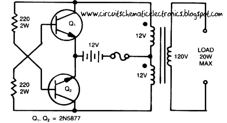 Simple Inverter Circuit from 12 V up to 120V - Electronic Circuit