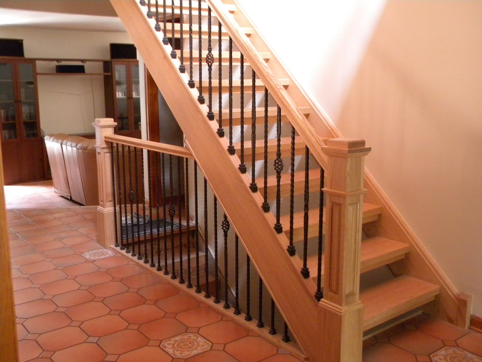 Wood Stairs And Rails Iron Baers