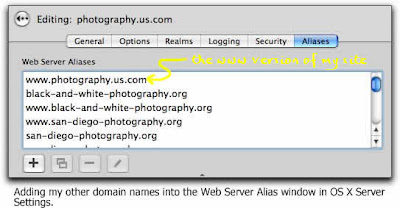 Adding additional domain names into the Sites Aliases window of Server Settings