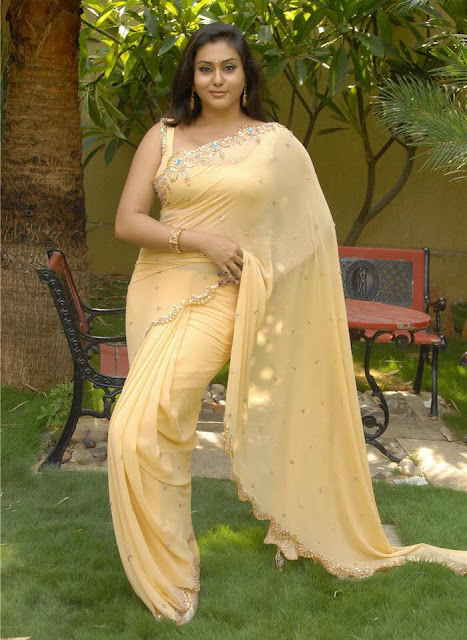 Namitha In Transparent Yellow Saree