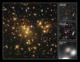 Distant galaxy hides behind a cluster