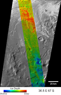 THEMIS scan shows ice at different depths along a strip of Mars