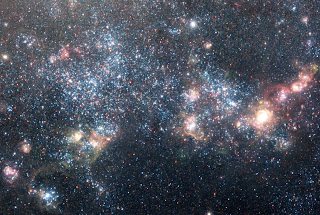 close up of stars in galaxy