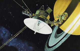 Artist's impression of a Voyager passing Saturn