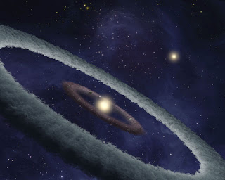 An artist's impression of the dust belt around HD 113766