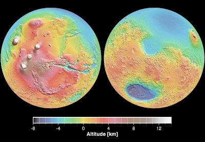 Relief map of Mars